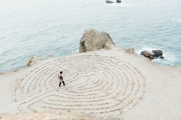rock maze used for meditation practices by a wellness traveler