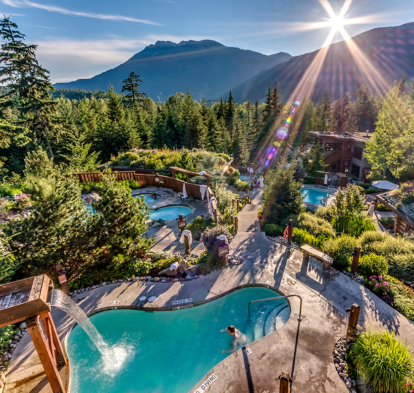 Aerial view of Scandinave Spa in Whistler British Columbia