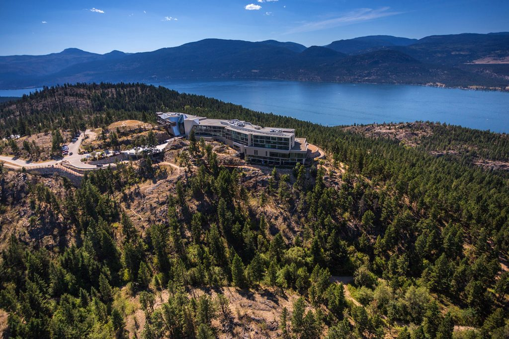 Aerial view of Sparkling Hill Resort in Vernon British Columbia
