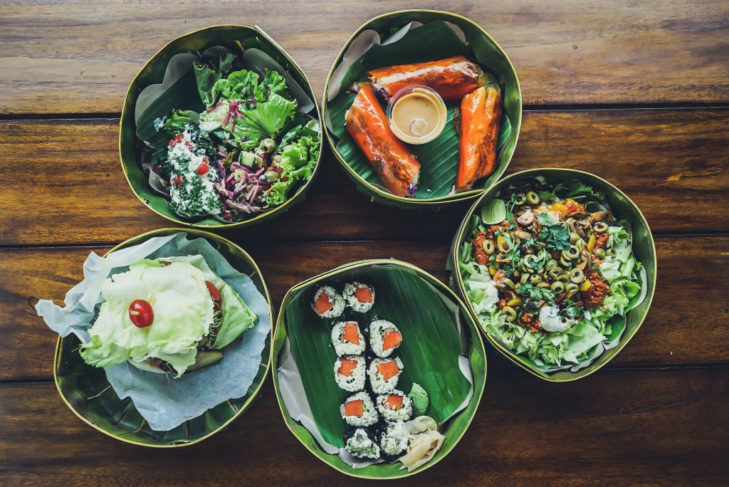 five bowls representing food culture in Ubud, Gianyar, Bali, Indonesia