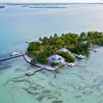 aerial view of cayo espanto, private island off the coast of Belize