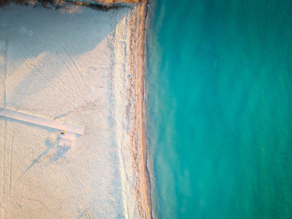 aerial view of a surprising beach destination