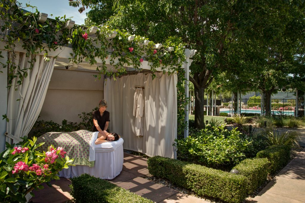 Spa client getting outdoor massage at Silverado Resort and Spa