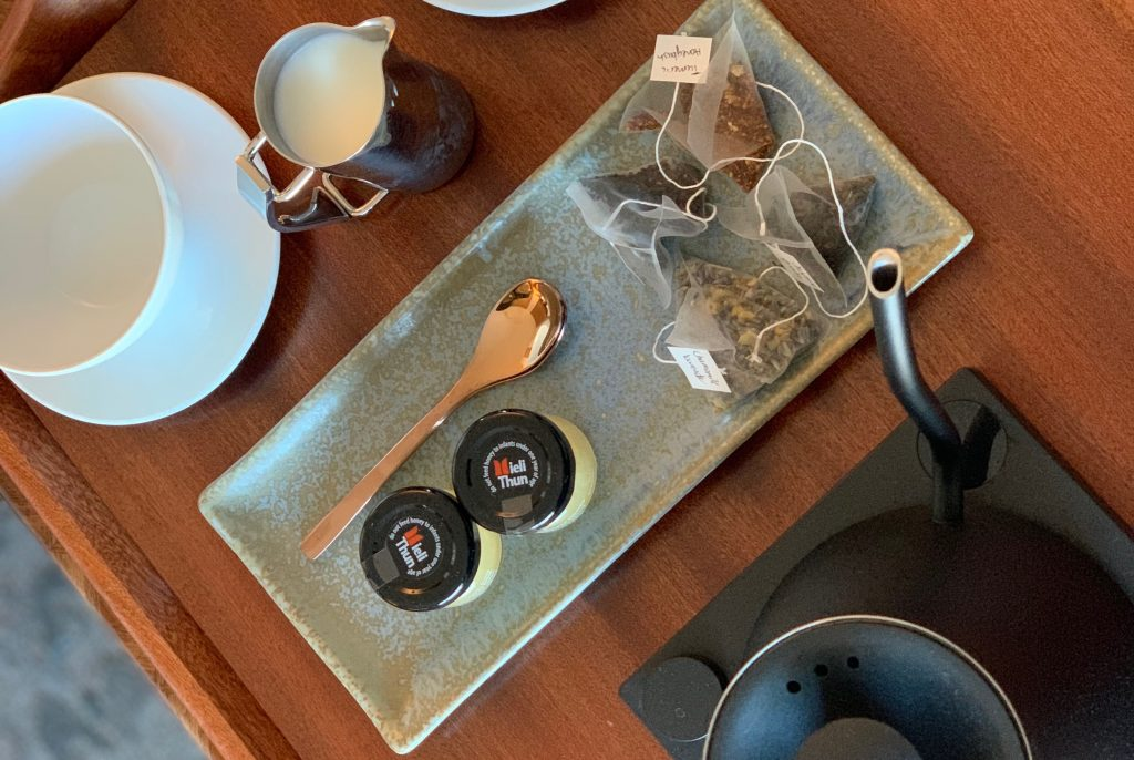 Tea kettle and tea bags at The Joseph Nashville