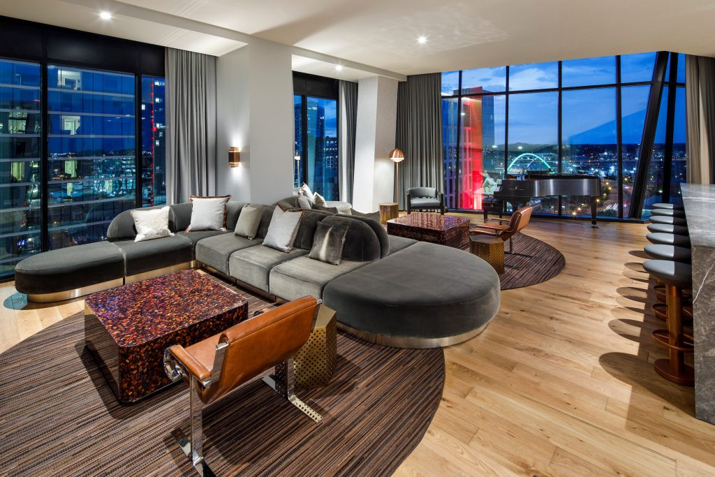 Presidential Suite at The Joseph Nashville with the view of the city lights