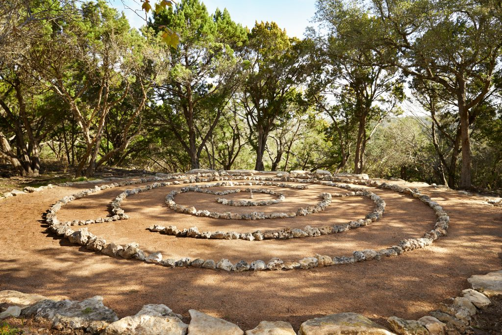 outdoor labyrinth walk at miraval austin