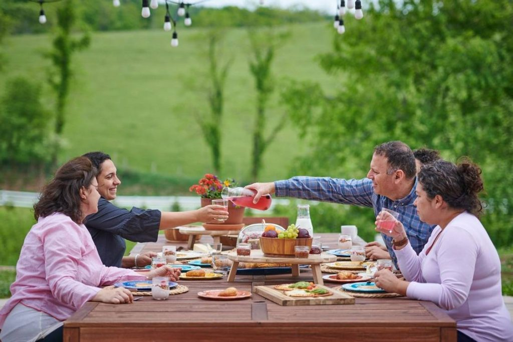 A family enjoying their meal at the Eupepsia Wellness resort