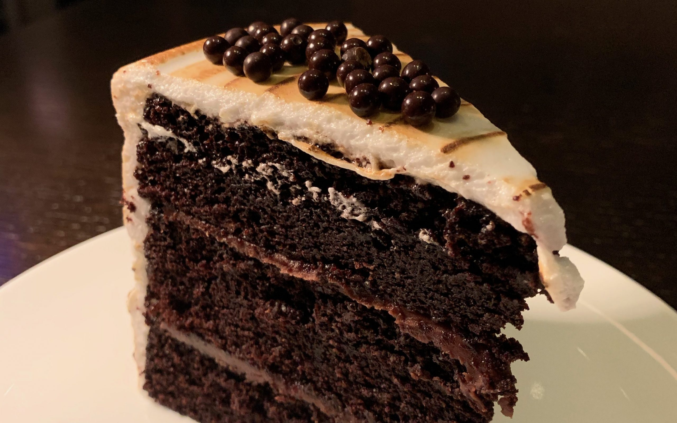 zoomed in image of chocolate cake dessert