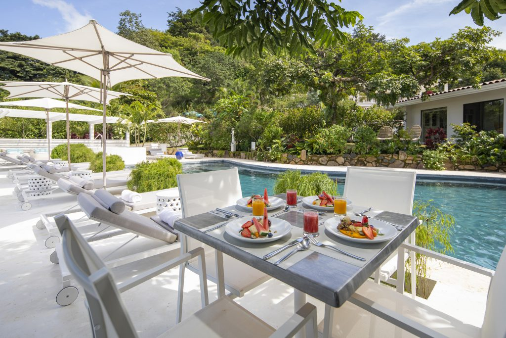 meal outdoors by the pool at the retreat - winter getaway
