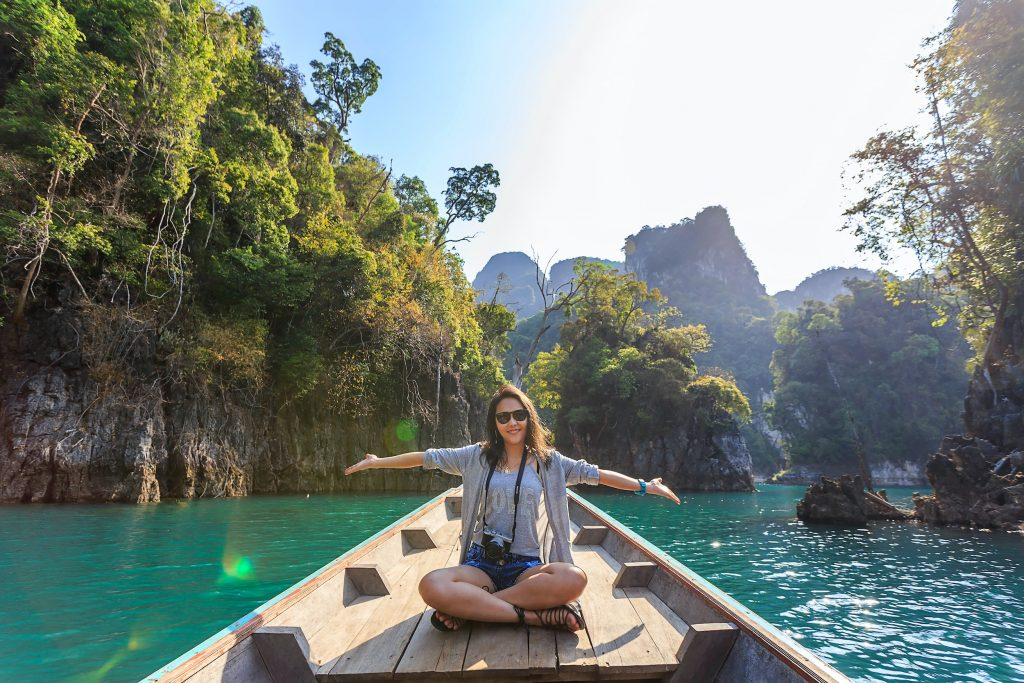 woman traveling solo river boat