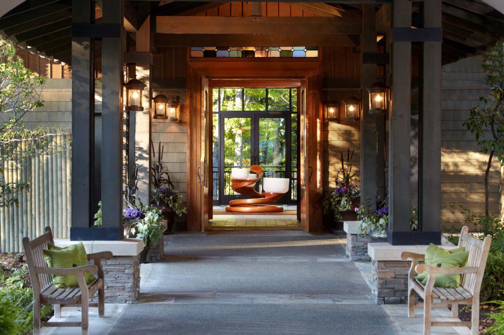 Main entrance with chakra bowls at The Lodge at Woodloch